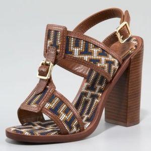 New - Tory Burch Florian Needlepoint Sandals 7.5